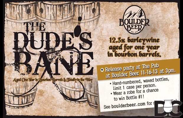Boulder Beer The Dude's Bane Barrel Aged Barleywine release Nov 16th