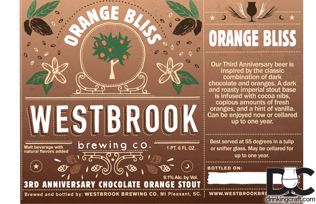 Westbrook Brewing 3rd Anniversary Orange Bliss, Mr. Chipper, and Rhubarb Remix Bottles